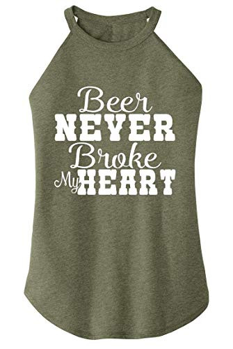 Ladies Tri-Blend Rocker Tank Top Beer Never Broke My Heart Military Green Frost XS (Military Of The Heart)