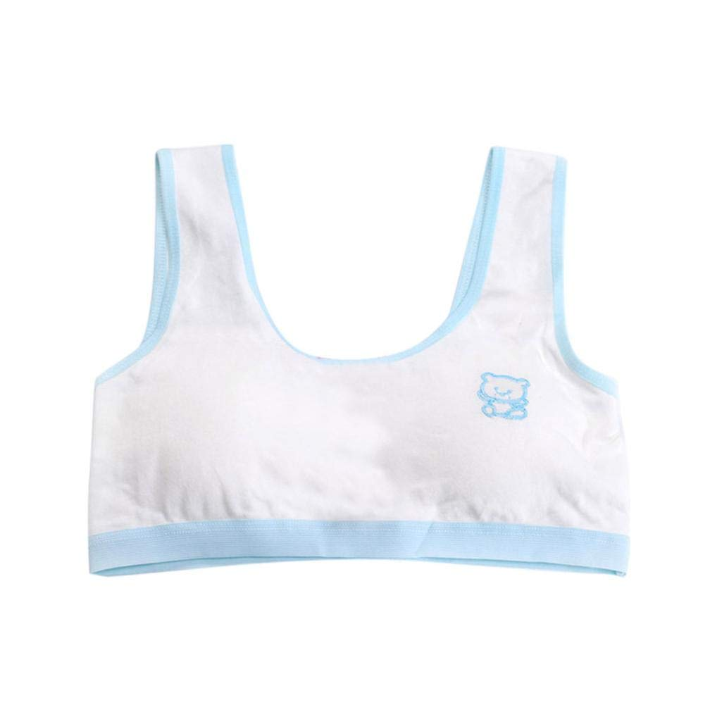 Moonker Big Girls' Crop Bra 8-14 Years Old,Teen Girls Kids Cotton Breathable Sports Undies Training Bra Underwear (8-14 Years Old, Light Blue)