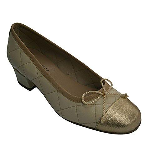 Manoletinas Chaussure Beig Rembourré Avec Roldan Moyen En Type Talon Femme 5Zx74