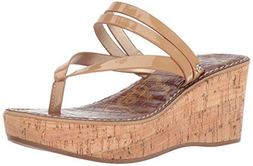 Open Wedges Toe Edelman Sam (Sam Edelman Women's Rasha Wedge Sandal, Almond Patent, 9.5 M US)