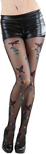 ToBeInStye Women's Butterfly with Leaf Design Pantyhose