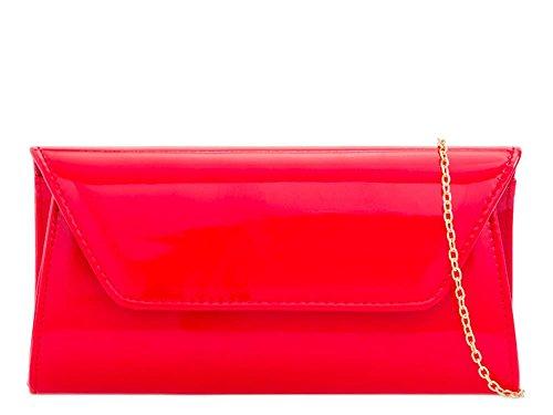 Bag Envelope Leather Party Red Patent Plain Ladies Evening Clutch w0tqTnS