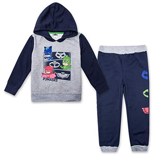 PJ Masks Hoodie Jogger Set - 1 Hoodie & 1 Sweatpants Featuring Catboy, Gekko & Owlette (Navy/Grey, 4T) ()