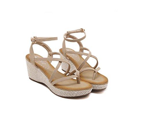 Ruanlei@Sandalias/Sandalias de Playa Para Mujer/Sandalias y chanclas/Sandalias planas/Sandalias casuales Zapatos de playaFina con pendientes con zapatos de mujer apricot