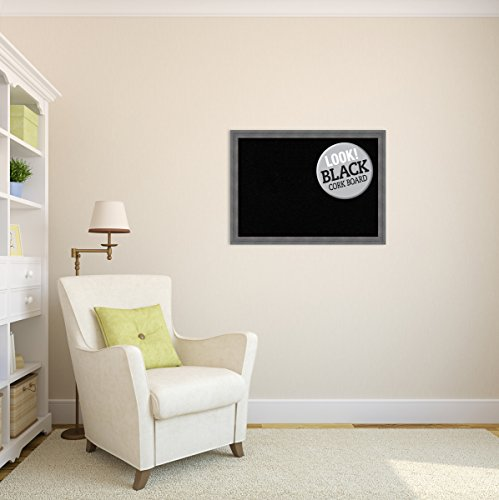 Amanti Art Framed Black Cork Board Dixie Grey Rustic: Outer Size 30 x 22'', Large by Amanti Art (Image #4)