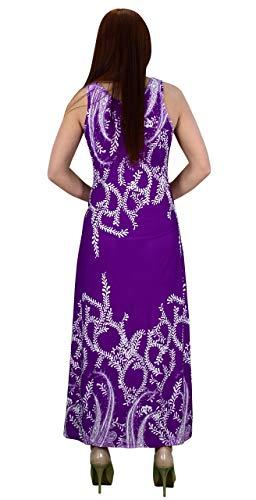 Maxi Mangas Sin Peach Purpura Camiseta Impresión Con Exclusiva Playa Cuello Couture Redondo Paisley qvvtExH