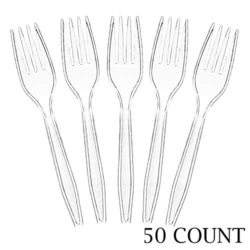 Plasticpro Clear Plastic Forks Disposable Cutlery Utensils 50 Count