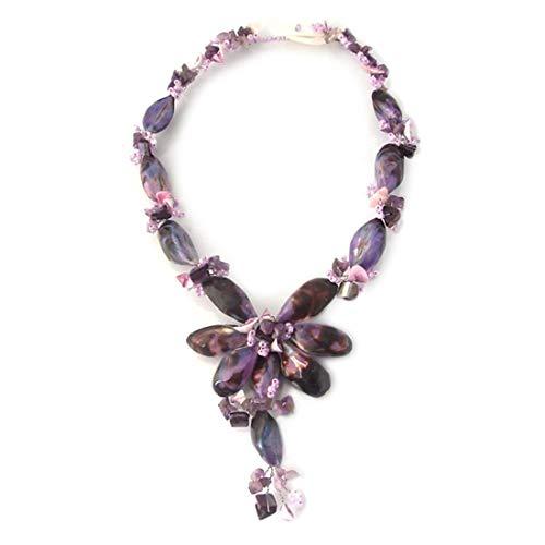 AeraVida Sea Beauty Natural Purple Seashell Toggle Necklace