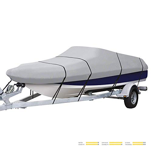 Seamander Heavy Duty Trailerable Runabout Boat Cover 600D Polyester Waterproof (Grey, 20'-22'L Beam Width up to 100