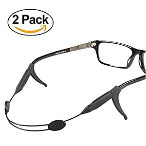 [2 Pack] Adjustable Eyewear Retainer with Anti-slip Holder, YYSHUI 17 inches Sunglass Straps Holder for all Types of Sunglasses, Optical Frame, Reading Glasses (Black)