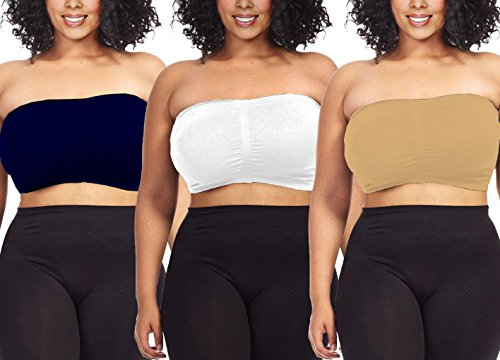 aab8c45aaa7 Dinamit Fashion 3-Pack Plus Size Seamless Strapless Bandeau Tube Top Bra -  Buy Online in Oman.
