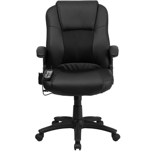 Massaging Black Leather Executive Swivel fice Chair