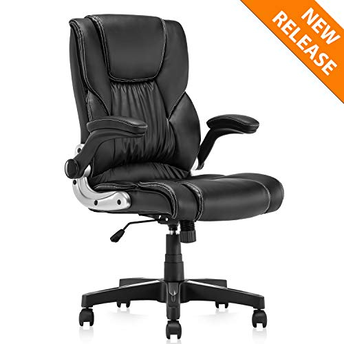B2C2B Leather Executive Office Chair - High Back Computer Desk Chair with Adjustable Angle Recline and Seat Height Thick Padding for Comfort and Ergonomic Design for Lumbar Support Black ()