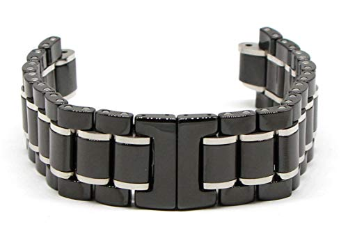 Swiss Legend 22MM Black and Silver Ceramic/Stainless 7 Inch Watch Strap Bracelet Fits 46mm Identity -