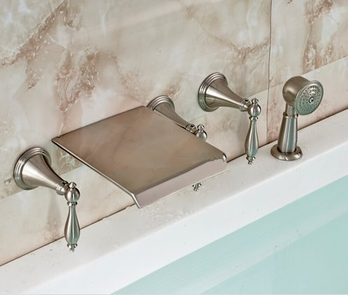 GOWE Luxury 5pcs Wall Mounted Waterfall Bathtub Bath Tub Mixer Faucet + Pull Out Hand Shower Brushed Nickel Finished by Gowe (Image #3)