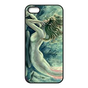 iPhone 5 5s Cell Phone Case Black Lost Books Reading Mermaid SUX_073895