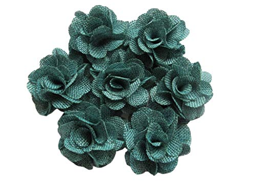 YYCRAFT 15pcs Burlap Flower Roses,3D Fabric Flowers for Headbands Hair Accessory DIY Crafts/Wedding Party Decorations/Scrapbooking Embellishments(2.25