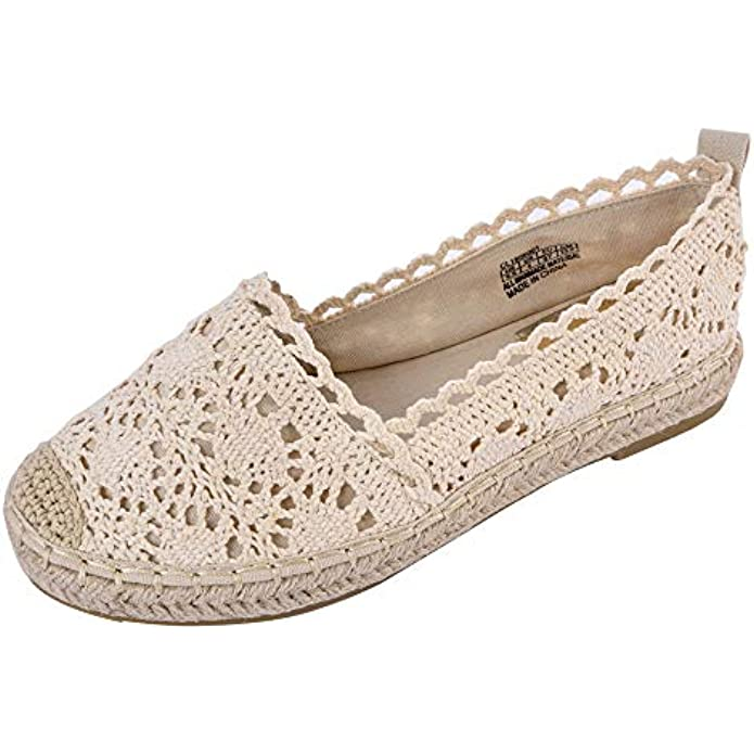 JENN ARDOR Women's Espadrille Sneakers Casual Flats Classic Slip-On Hollow Shoes