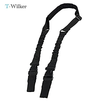 T-wilker Heavy-Duty Padded Tactical 2 Points Rifle Sling Adjustable Belt Quick Detach Stealth Waterproof Hunting Bungee Gun Strap