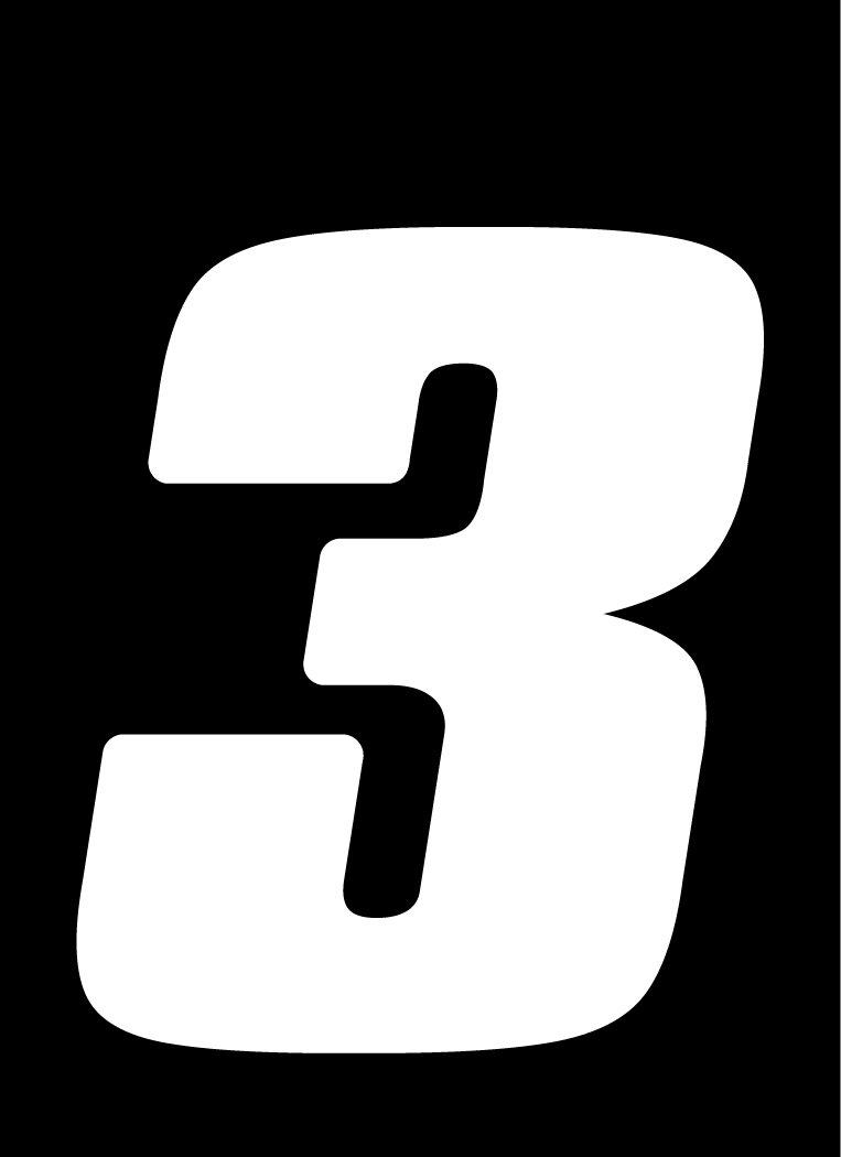 3 Pack Dirt Digits DD43B-7 Black 4 High-Gloss Precision Die Cut Vinyl Number 7