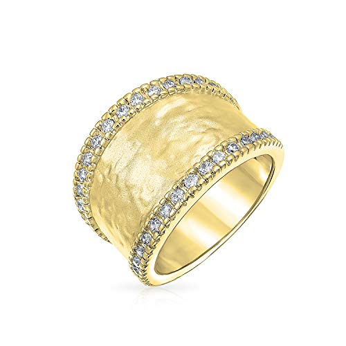 ld Plated Pave CZ Hammered Cubic Zirconia Modern Band Statement Brass Ring Matte Finish 7mm ()