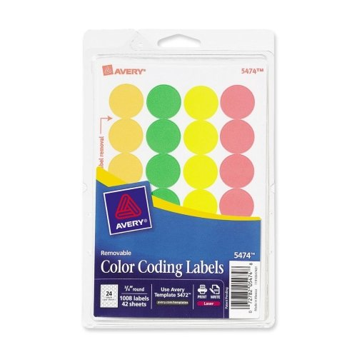 Avery Print or Write Round Color Coding Label - 0.75amp;quot; Diameter - Removable - 1008 / Pack - Assorted