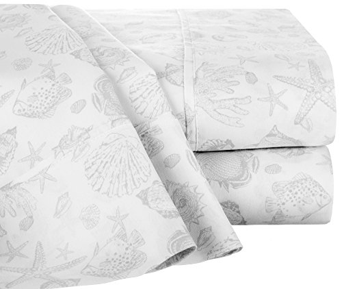 Raymond Waites Oceano Print Sheet Set Queen White/Grey by Raymond Waites