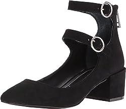 Charles by Charles David Women's Wendy Ankle Strap Pump,Black Microsuede,US 6 M