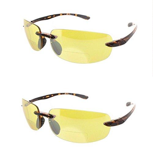 2 Pair of Rimless Bifocal Style - Yellow/Yellow Lens (+3.00 - 951 Sunglasses
