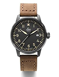 Laco St. Gallen Quartz Pilot Watch with 42mm PVD Case and Corrugated Dial 861973