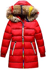 Girls Winter Coat, Down Parka Puffer Jacket for Big Girl Padded Outwear with Fur Hood