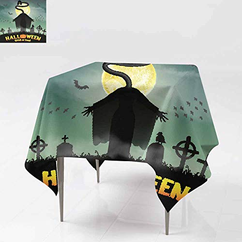 AFGG Waterproof Table Cover,Halloween Japan Long Neck Ghost in Graveyard,Stain Resistant, Washable 70x70 Inch