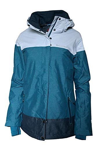 Columbia Women's Snowshoe Mountain Omni Heat Waterproof Hooded Ski Jacket (X-Small, Aegean Blue)