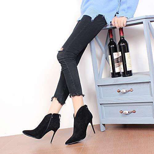 LBTSQ-Mode Damenschuhe Spitz Dünn Und Ferse Mit Hohen 10Cm 10Cm 10Cm Kurze Stiefel Schwarz Wildleder V Mund Sexy Wild Ma Dingxue 6fa800