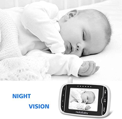 41kvVAvmHsL. AC Video Baby Monitor with Camera and Audio   Keep Babies Nursery with Night Vision, Talk Back, Room Temperature, Lullabies, 960ft Range and Long Battery Life    Hellobaby Video Baby Monitor HB32 - REACH FEATURES