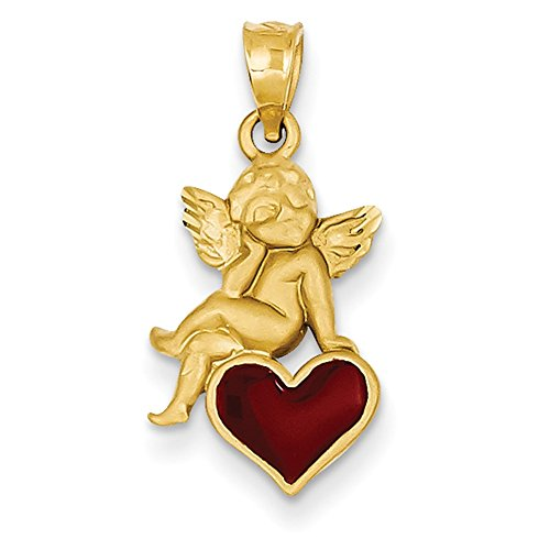 Enameled Angel Pendant (Lex & Lu 14k Yellow Gold Enameled Angel on Heart Pendant)