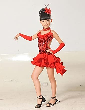 2572fa772 AIU Latin Dance Children's Polyester/Lycra Sequins Tassel Outfit(Red/Black/Blue/Yellow)  Kids Dance Costumes , nude-120 , nude-120: Amazon.co.uk: Clothing