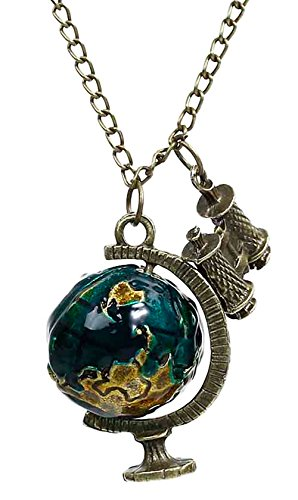 Best Wing Jewelry Globe Telescope/Terrestrial Antique-Bronze-Tone Pendant Long Chain Necklace (70cm)