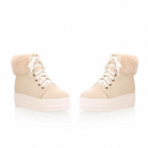 Lucksender Womens Sweet Style Lace-up Warm Cute Faux Fur Comfort Platform Snowboots Beige