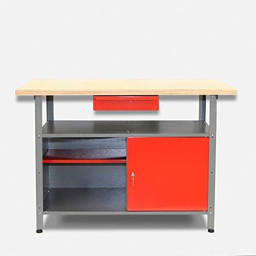 Werkbank aus Metall mit 30 mm Sperrholzplatte mit einer verschließbaren Tür, einer Schublade sowie einer Zwischenablage, Maße B 120 x H 85 X T 60 cm