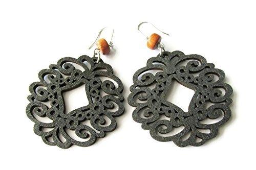 Large Lightweight Black Circle Filigree and Brown Bayong Bead Modern Boho Earrings for Women