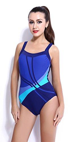 Fortuning's JDS de las mujeres del bikini de una sola pieza traje de ropa de playa monokini del traje de baño traje de baño rellenado de baño azul