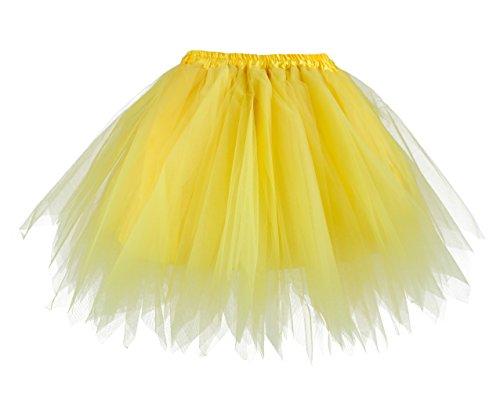 V28 Women's Teen's 1950s Vintage Tutu Tulle Petticoat Ballet Bubble Skirt (Regular Size (US: 0-12), (Yellow Tutu)