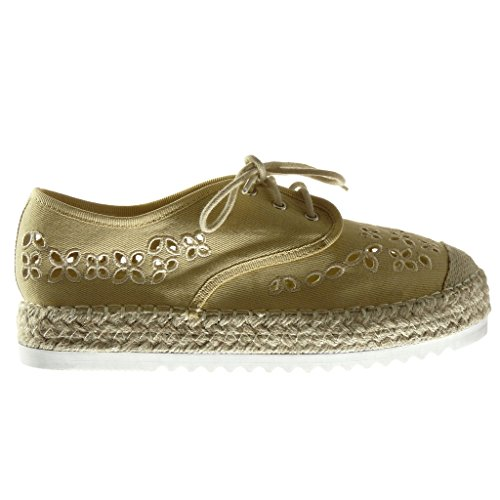 Angkorly Women's Fashion Shoes Espadrilles Derby Shoe - Platform - Open - Perforated - Embroidered - Cord Wedge Platform 3 cm Beige pMQv5VzRcX