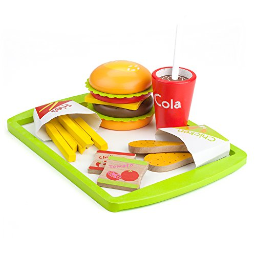 Fast Food Deluxe Dinner | Wooden Diner Food For Creative Pretend Play | Classic American Meal Includes Cheeseburger, Chicken Wings, French Fries, Hot Sauce, Ketchup, and Ice Cold Cola