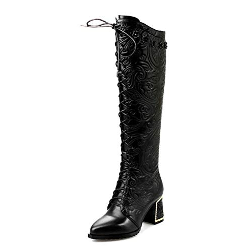 De 39 Bottes En Cuir 34 Chaussures Tailles Haute Noir Talon Femme