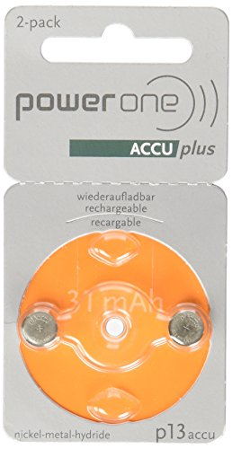 Price comparison product image Power One ACCU plus p13 Hearing Aid Rechargeable Battery,  Pack of 2