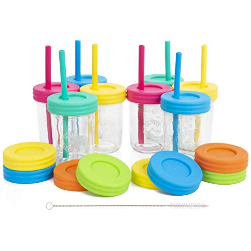 (Kids 8oz Glass Mason Jar Drinking Cups with Straw Lids + Leak Proof Regular Lids + Silicone Straws + Cleaning Brush - No Rust, Less Spills for Toddlers & Kids)