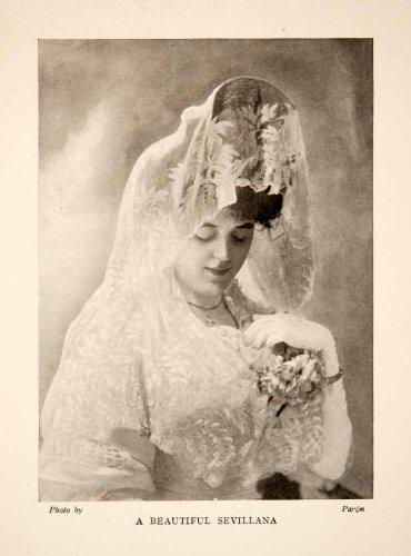 Lady Of Spain Costume (1909 Print Sevillana Seville Sevilla Spain Woman Costume Headdress Lace Glove - Original Halftone Print)