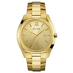 Bulova 97B146 Gold Tone Stainless Steel Champagne Dial Quartz Dress Men's Watch